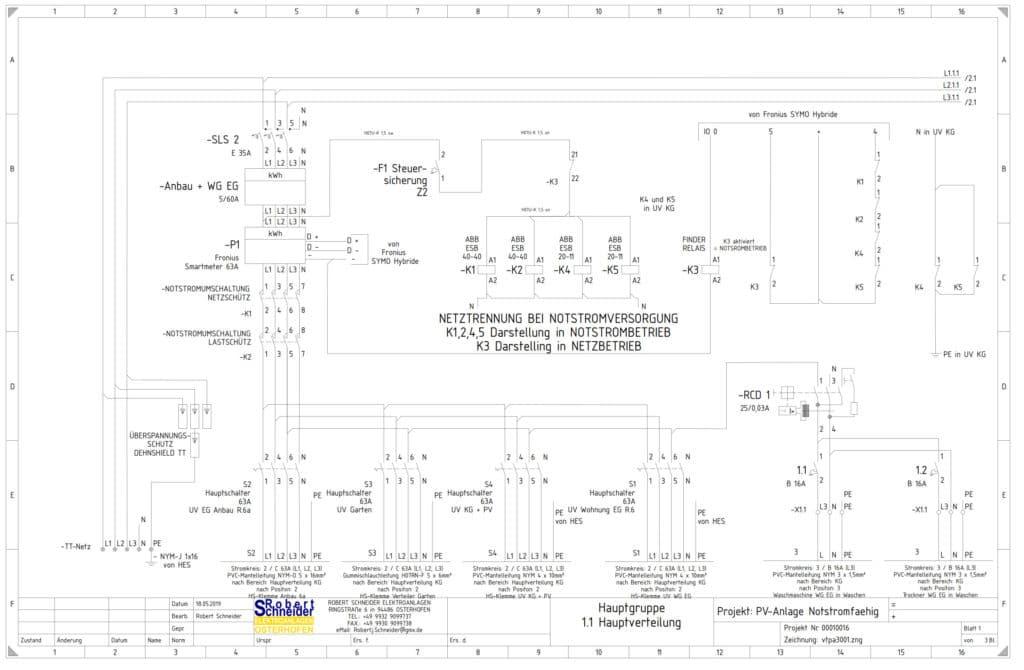 Elektroplanung, planen von Elektroanlagen, Planerstellung - Plan einer Elektroanlage