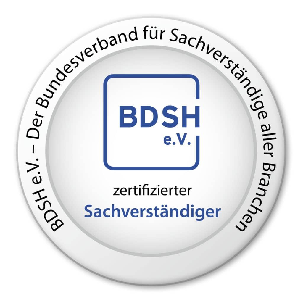 Siegel zertifizierter Sachverständiger - BDSH e.V. Der Bundesverband für Sachverständige aller Branchen